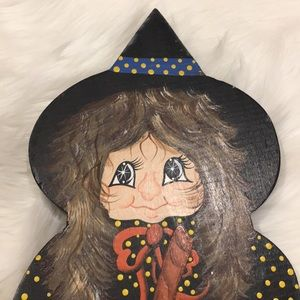 Hand Painted Wooden Witch!